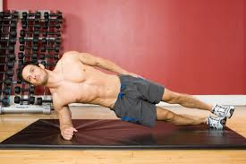 picture of a man performing a side plank exercise
