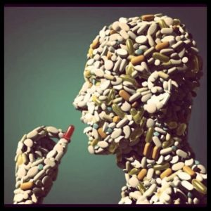 picture of a man taking a pill, the man is made of pills